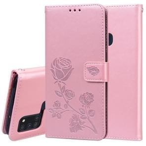 Voor Samsung Galaxy A21s Rose Embossed Horizontale Flip PU Lederen Case met Holder & Card Slots & Wallet (Rose Gold)