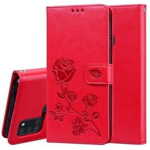 Voor Samsung Galaxy A21s Rose Embossed Horizontal Flip PU Leather Case met Holder & Card Slots & Wallet(Red)