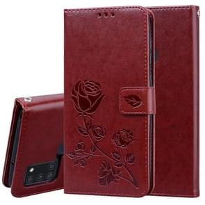 Voor Samsung Galaxy A21s Rose Embossed Horizontal Flip PU Leather Case met Holder & Card Slots & Wallet(Brown)