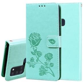 Voor Samsung Galaxy A21s Rose Embossed Horizontale Flip PU Lederen Case met Holder & Card Slots & Wallet(Groen)
