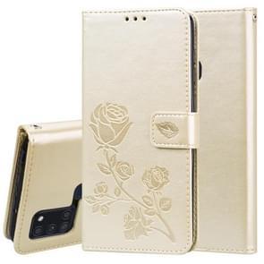 Voor Samsung Galaxy A21s Rose Embossed Horizontale Flip PU Lederen Case met Holder & Card Slots & Wallet(Gold)