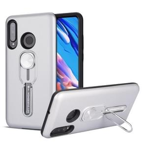 For Huawei P30 Lite Shockproof TPU + PC Protective Case with Holder(Silver)
