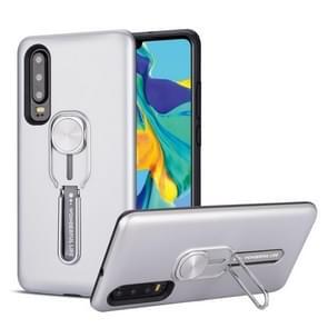 Voor Huawei P30 schokbestendige TPU + PC beschermhoes met houder (zilver)