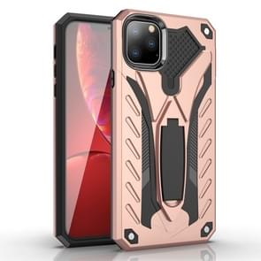 For iPhone 11 Pro Max Shockproof TPU + PC Protective Case with Holder(Rose Gold)