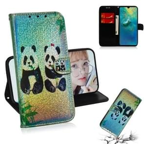 For Huawei Mate 20 Colored Drawing Pattern Colorful Magnetic Buckle Horizontal Flip PU Leather Case with Holder & Card Slots & Wallet & Lanyard(Two Pandas)