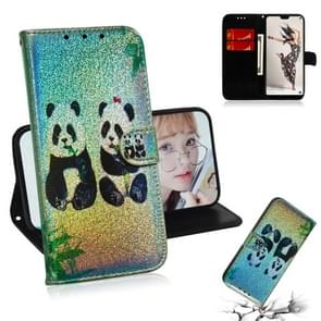 For Huawei P20 Pro Colored Drawing Pattern Colorful Magnetic Buckle Horizontal Flip PU Leather Case with Holder & Card Slots & Wallet & Lanyard(Two Pandas)