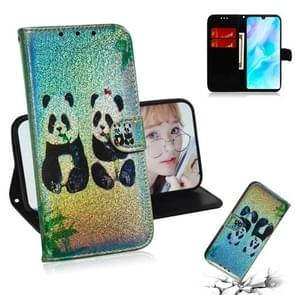For Huawei P30 Lite / Nova 4e Colored Drawing Pattern Colorful Magnetic Buckle Horizontal Flip PU Leather Case with Holder & Card Slots & Wallet & Lanyard(Two Pandas)