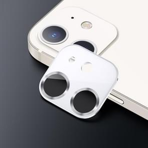 USAMS US-BH703 One-piece Metal Frame Camera Lens Tempered Glass Film Voor iPhone 12 (Wit)