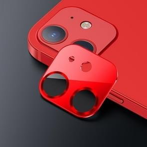 USAMS US-BH703 One-piece Metal Frame Camera Lens Tempered Glass Film Voor iPhone 12 (Rood)