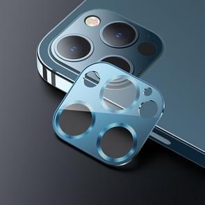 USAMS US-BH704 Een-stuk Metalen Frame Camera Camera Lens Tempered Glass Film Voor iPhone 12 Pro (Sea Blue)