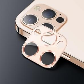 USAMS US-BH704 Een-stuk Metalen Frame Camera Camera Lens Tempered Glass Film Voor iPhone 12 Pro (Goud)