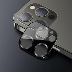 USAMS US-BH707 Een-stuk Metalen Frame Camera Camera Lens Tempered Glass Film Voor iPhone 12 Pro Max (Grafiet)