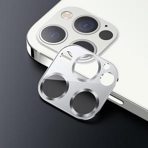 USAMS US-BH707 Een-stuk Metalen Frame Camera Camera Lens Tempered Glass Film Voor iPhone 12 Pro Max (Zilver)