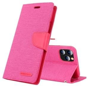 Voor iPhone 11 Pro Max MERCURY GOOSPERY CANVAS dagboek canvas textuur horizontale Flip lederen draagtas met kaartsleuven & portemonnee & houder (Rose rood)