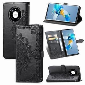 Voor Huawei Mate 40 Embossed Mandala Pattern TPU + PU Horizontal Flip Leather Case met Holder & Three Card Slots & Wallet(Black)