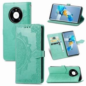 Voor Huawei Mate 40 Embossed Mandala Pattern TPU + PU Horizontal Flip Leather Case met Holder & Three Card Slots & Wallet(Groen)
