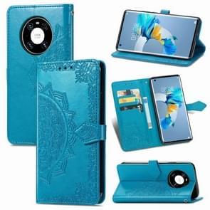 Voor Huawei Mate 40 Embossed Mandala Pattern TPU + PU Horizontal Flip Leather Case met Holder & Three Card Slots & Wallet(Blue)