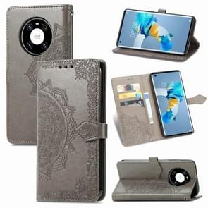 Voor Huawei Mate 40 Embossed Mandala Pattern TPU + PU Horizontal Flip Leather Case met Holder & Three Card Slots & Wallet(Grey)