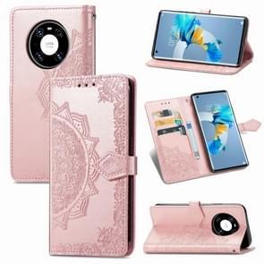 Voor Huawei Mate 40 Embossed Mandala Pattern TPU + PU Horizontal Flip Leather Case met Holder & Three Card Slots & Wallet (Rose Gold)