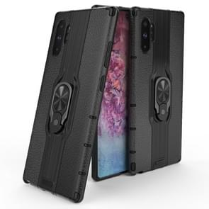 For Galaxy Note10+ Litchi Texture PC + TPU Combination Case with Magnetic Ring Holder(Black)