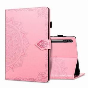 Voor Samsung Galaxy Tab S7 Plus Halverwege Mandala Reliëf patroon Horizontaal Flip PU Lederen case met kaartslots & penslot (roze)