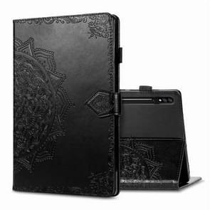 Voor Samsung Galaxy Tab S7 Plus Halverwege Mandala Reliëf patroon Horizontaal Flip PU Lederen case met kaartslots & houder & penslot(zwart)