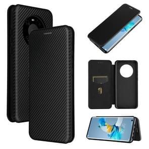 Voor Huawei Mate 40 Carbon Fiber Texture Magnetic Horizontal Flip TPU + PC + PU Leather Case met kaartsleuf(zwart)