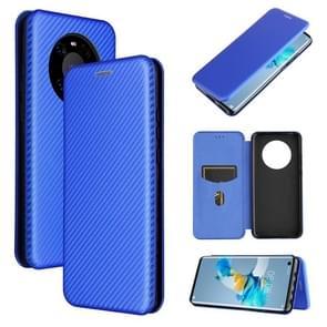 Voor Huawei Mate 40 Carbon Fiber Texture Magnetic Horizontal Flip TPU + PC + PU Leather Case met kaartsleuf(blauw)