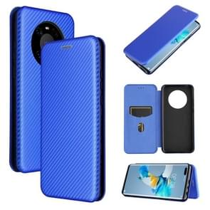 Voor Huawei Mate 40 Pro Carbon Fiber Texture Magnetic Horizontal Flip TPU + PC + PU Leather Case met kaartsleuf(blauw)