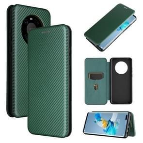 Voor Huawei Mate 40 Pro Carbon Fiber Texture Magnetic Horizontal Flip TPU + PC + PU Lederen case met kaartsleuf(groen)