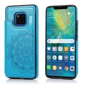 Voor Huawei Mate 20 Pro Double Buckle Mandala Patroon PU+TPU beschermhoes met kaartslots & houder & fotoframe(blauw)
