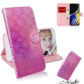 For Galaxy Note 9 Solid Color Colorful Magnetic Buckle Horizontal Flip PU Leather Case with Holder & Card Slots & Wallet & Lanyard(Pink)