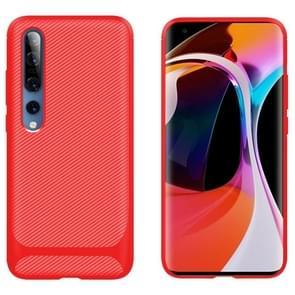 Voor Xiaomi Mi 10 / 10 Pro 5G Carbon Fiber Texture Schokbestendige TPU Beschermhoes(Rood)