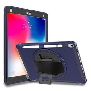 Voor iPad Pro 10 5 inch 360 graden rotatie PC + TPU beschermhoes met houder & hand strap (donkerblauw)