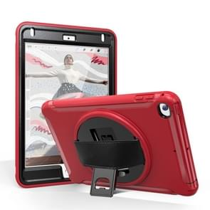For iPad mini (2019) & mini 4 360 Degree Rotation PC+TPU Protective Cover with Holder & Hand Strap(Red)