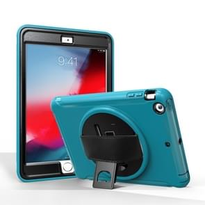 For iPad mini 3 & 2 & 1 360 Degree Rotation PC+TPU Protective Cover with Holder & Hand Strap(Light Blue)
