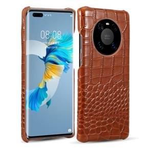 Voor Huawei Mate 40 Pro Head-layer Cowhide Leather Crocodile Texture Protective Case(Brown)
