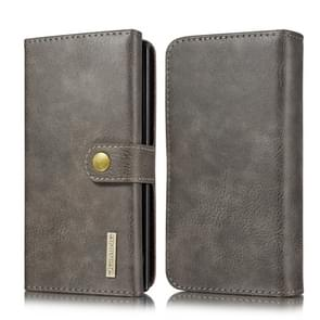 For Galaxy Note 10+ DG.MING Triple Fold Crazy Horse Texture Magnetic Horizontal Flip Leather Case with Holder & Card Slots & Wallet(Grey)