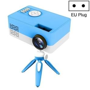 J15 1920 x 1080P HD Household Mini LED Projector met Tripod Mount Support AV / HDMI x 1 / USB x1 / TF x 1  Plug Type:EU Plug(Blue White)