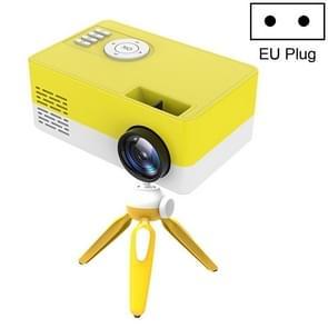 J15 1920 x 1080P HD Household Mini LED Projector met Tripod Mount Support AV / HDMI x 1 / USB x1 / TF x 1  Plug Type:EU Plug(Yellow White)
