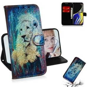 Colored Drawing Pattern Colorful Magnetic Buckle Horizontal Flip PU Leather Case with Holder & Card Slots & Wallet & Lanyard For Galaxy Note 9(White Lion)