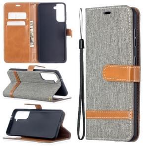 Voor Samsung Galaxy S30 Color Matching Denim Texture Horizontale Flip Lederen case met Holder & Card Slots & Wallet & Lanyard(Grijs)