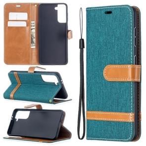 Voor Samsung Galaxy S30 Color Matching Denim Texture Horizontale Flip Lederen Case met Holder & Card Slots & Wallet & Lanyard(Groen)