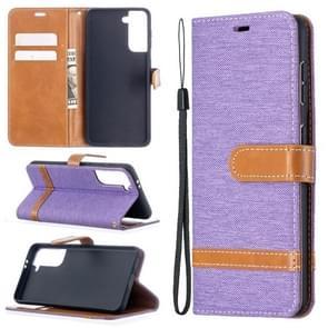 Voor Samsung Galaxy S30 Color Matching Denim Texture Horizontale Flip Lederen Case met Holder & Card Slots & Wallet & Lanyard(Paars)