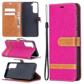 Voor Samsung Galaxy S30 Color Matching Denim Texture Horizontale Flip Lederen case met Holder & Card Slots & Wallet & Lanyard(Rose Red)