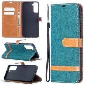 Voor Samsung Galaxy S30 Plus Kleur Bijpassende Denim Textuur Horizontale Flip Lederen case met Holder & Card Slots & Wallet & Lanyard(Groen)