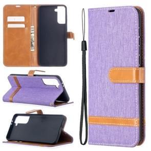 Voor Samsung Galaxy S30 Plus Kleur Bijpassende Denim Textuur Horizontale Flip Lederen case met Holder & Card Slots & Wallet & Lanyard(Paars)
