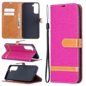 Voor Samsung Galaxy S30 Plus Kleur Bijpassende Denim Textuur Horizontale Flip Lederen case met Holder & Card Slots & Wallet & Lanyard(Rose Red)