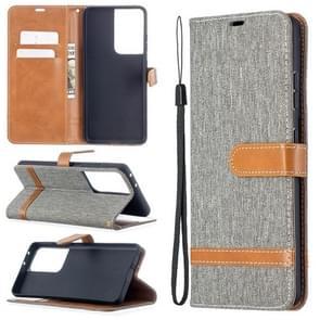 Voor Samsung Galaxy S30 Ultra Color Matching Denim Texture Horizontale Flip Lederen case met Holder & Card Slots & Wallet & Lanyard(Grijs)