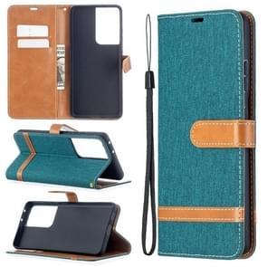 Voor Samsung Galaxy S30 Ultra Color Matching Denim Texture Horizontale Flip Lederen Case met Holder & Card Slots & Wallet & Lanyard(Groen)